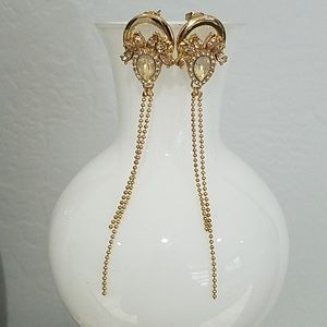 GOLD TONE STATEMENT EARRINGS WITH GEMS